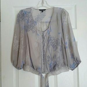 Express gray blue crop button sheer blouse XS
